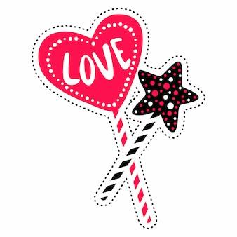 ベクトル甘いイラスト心と星。愛をこめてかわいいデザイン。孤立した