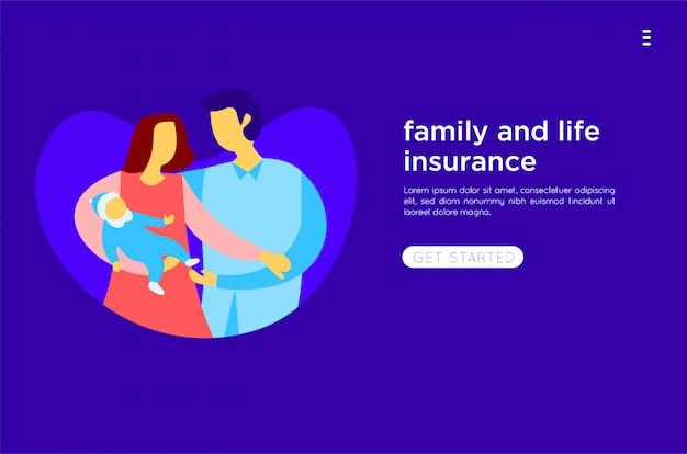 Счастливая семья плоская иллюстрация