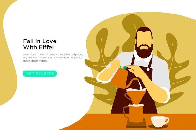 フラットバリスタコーヒーイラスト