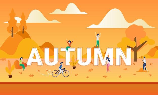 Люди играют осенью с плоской иллюстрацией
