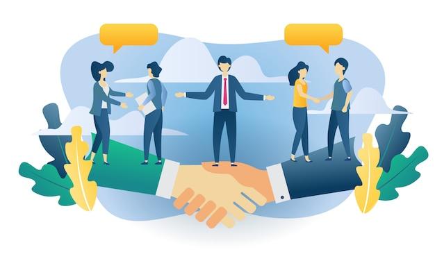 ビジネスコンセプトチームワークフラット図