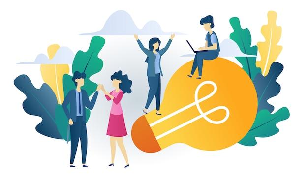 ビジネスコンセプトのアイデアフラットイラストを構築