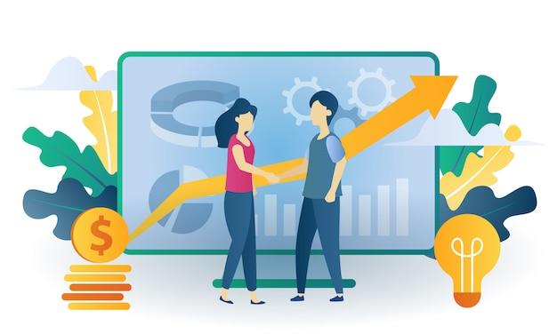 Бизнес-концепция команды инвестировать плоской иллюстрации