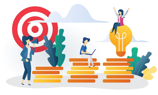 Бизнес-концепция достижения плоской иллюстрации