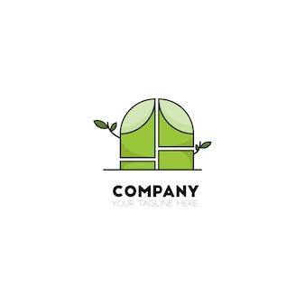 ラインスタイルで新鮮な緑色の竹のロゴ