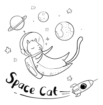 宇宙飛行士の猫の描画