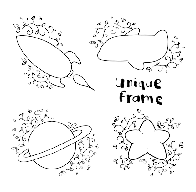 ユニークな花のフレーム手描き