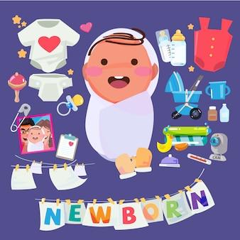 子供の世話をするアクセサリーのセットを持つ生まれたばかりの赤ちゃんのキャラクター。ヘッダーデザインの活版印刷
