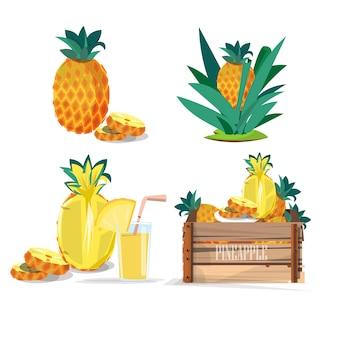 パイナップルのセット。ジュース。