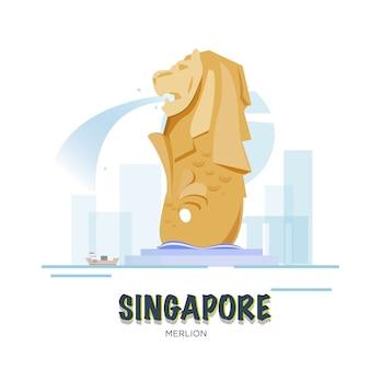 Сингапурская достопримечательность. набор асеан.