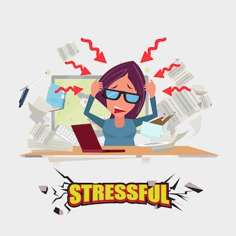 一生懸命働く女性。ストレスがたまります。