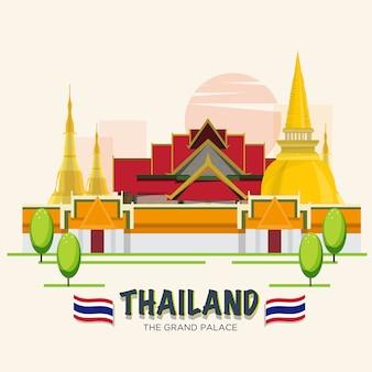 Большой дворец. достопримечательность бангкока, таиланд. асеан комплект.
