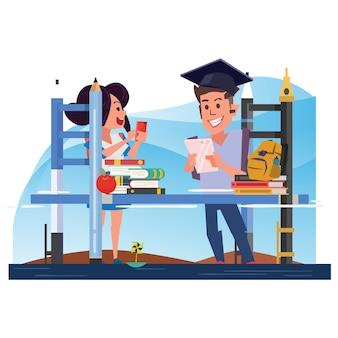 Обучение мосту со студентом. концепция обучения - векторная иллюстрация