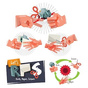 Рок, бумага, ножницы игра знак рукой для концепции детства