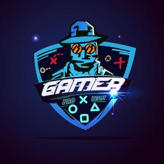 ゲーマーのロゴやハッカーのコンセプト