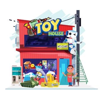 おもちゃ屋 - ベクトルイラスト