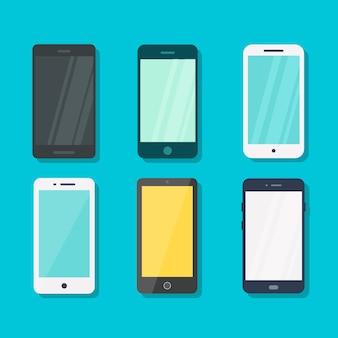 青の背景ベクトル概念上のスマートフォン。