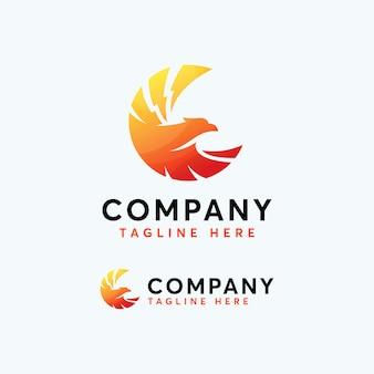 Премиум феникс орел ястреб логотип дизайн шаблона