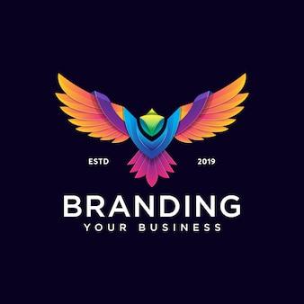 Красочный шаблон дизайна логотипа феникс современный