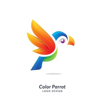 Цветной шаблон логотипа попугай модерн