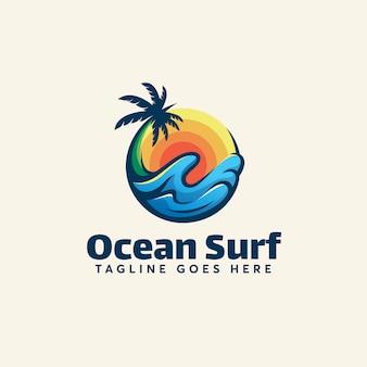 オーシャンサーフのロゴのテンプレートモダンな夏