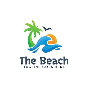 ビーチのロゴのテンプレートモダンデザイン夏休み