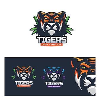 Шаблон логотипа тигра спорт природа модерн