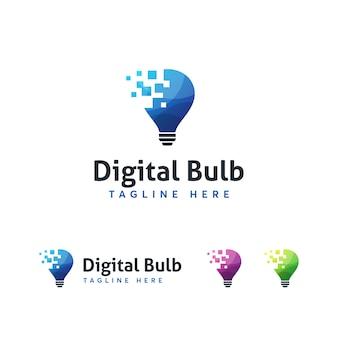 デジタル電球のロゴのテンプレート