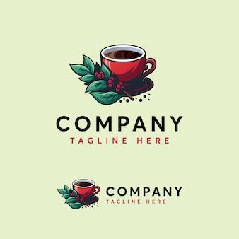 詳細なコーヒーのロゴのテンプレート