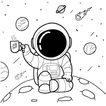 コーヒー宇宙飛行士手描き