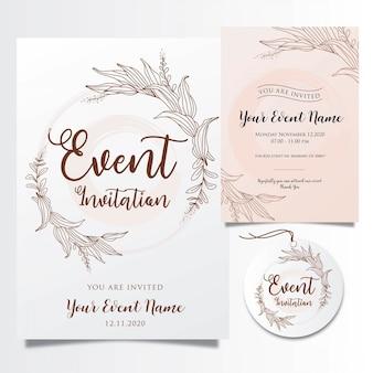 エレガントな花のラインと編集可能なイベントの招待状のテンプレート