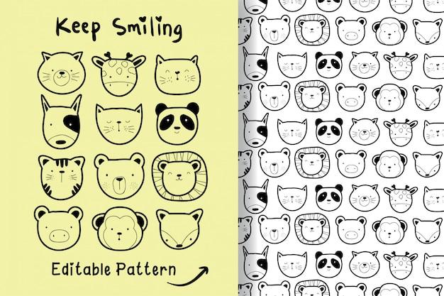 手描きの編集可能なパターンでかわいい動物