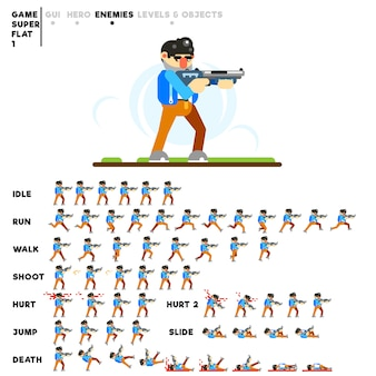 ビデオゲームを作成するための散弾銃を持つ男のアニメーション