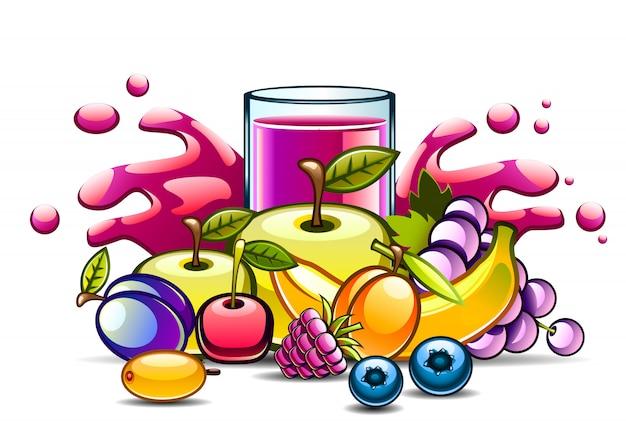 天然パープルジュースとフルーツ