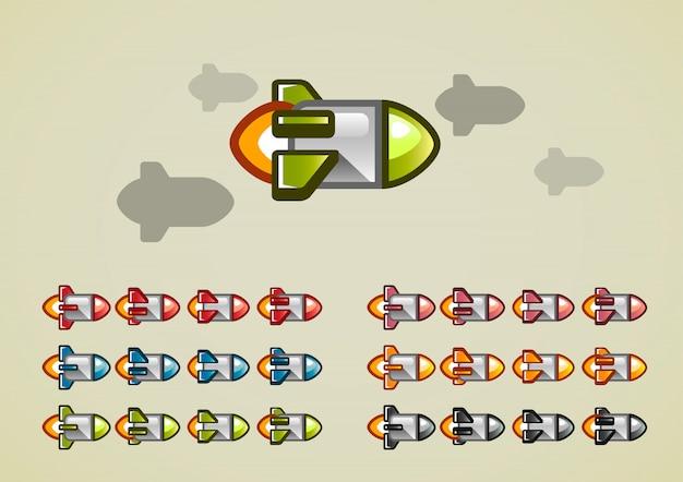 ビデオゲーム用の回転アニメーションロケット