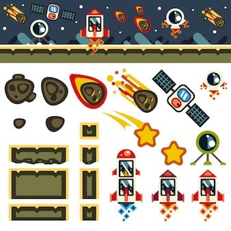 Космический плоский набор игрового уровня