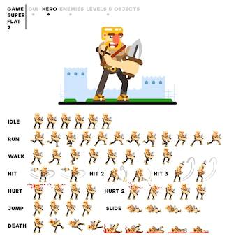 ビデオゲームを作成するためのナイフを持つ戦士のアニメーション