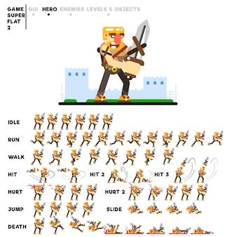 ビデオゲームを作成するための剣を持つ戦士のアニメーション