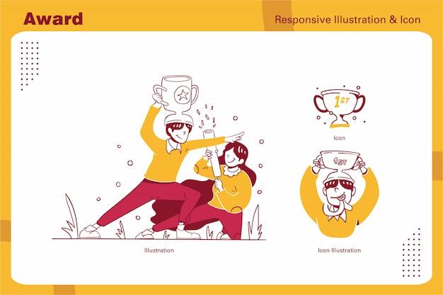 Бизнес и финансы отзывчивые иллюстрации и значок рисованной стиль дизайна, победитель премии, чемпион, мужчина и женщина поздравление с кубком