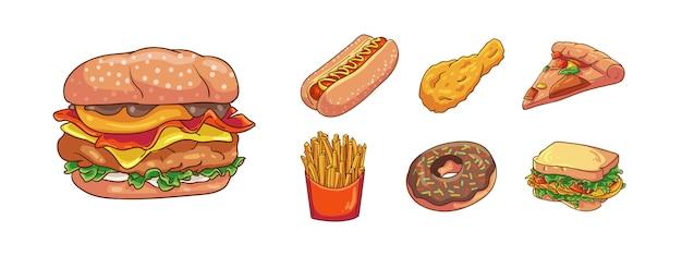 Векторная иллюстрация современной нездоровой пищи рисованной мультяшный стиль окраски