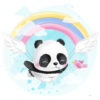 Симпатичная летающая панда с радугой