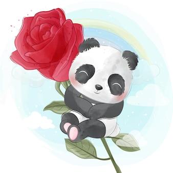 Милая панда ползет вверх по розе