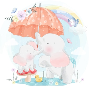 Милый слоненок мама и малыш