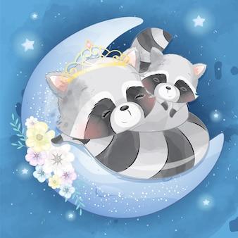 かわいいアライグマの母親と赤ちゃん