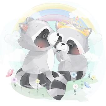 かわいいアライグマの男の子と女の子