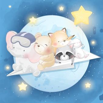 月を飛んでいるかわいい動物