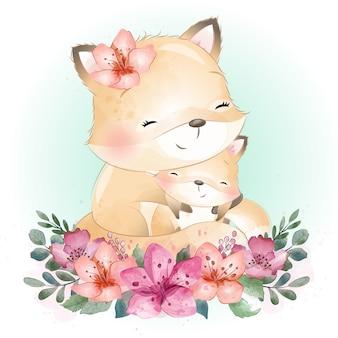 かわいいフォクシーの母親と赤ちゃん