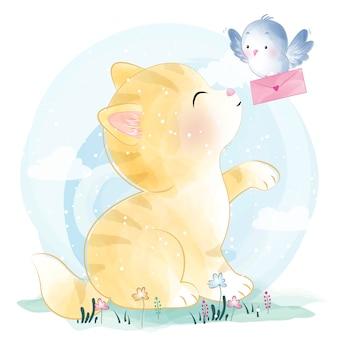 Милый котенок с птицей