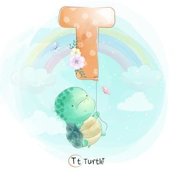Милая черепаха летит с воздушным шаром