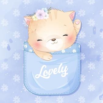ポケットの中に座っているかわいい子猫